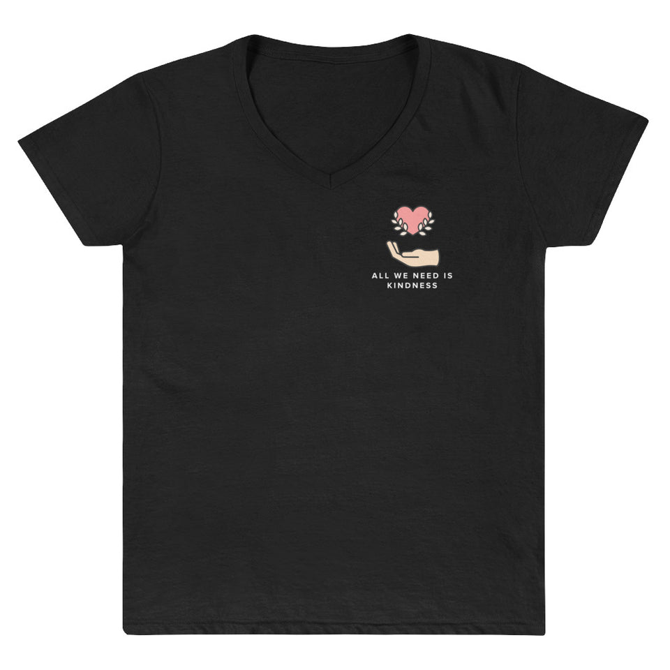 All We Need Is Kindness Pocket Tee - Black Women's Casual V-Neck Shirt by Undoing