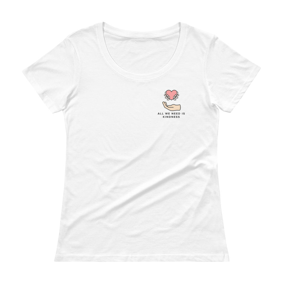 All We Need Is Kindness Pocket Tee - Ladies' Scoop Neck T-Shirt White Tee by Undoing