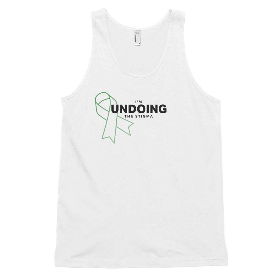 I'm Undoing the Stigma Mental Health Symbol - Unisex Tank Top  white mental health awareness tank top by Undoing