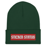 Classic Embroidered Sticker Status Cuffed Beanie