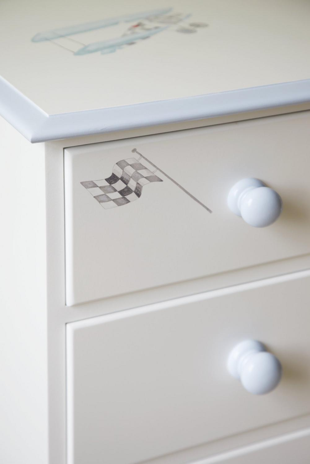 Chest of drawers with Vintage Transport themed hand paintings | Dragons of Walton Street
