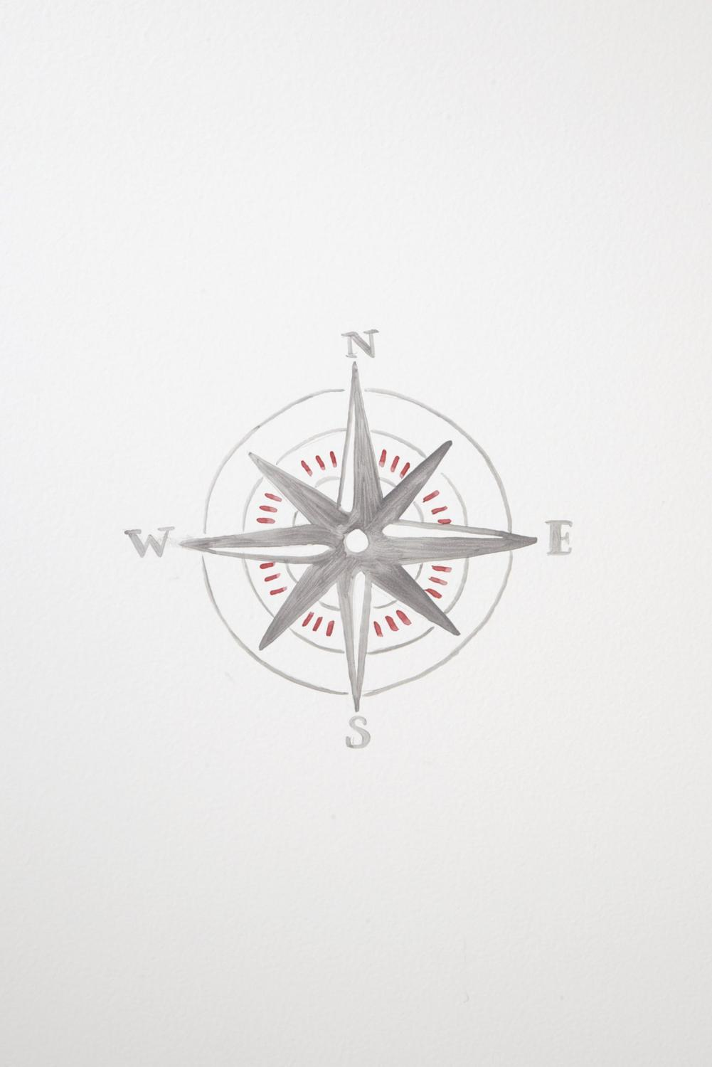 Compass painting for Vintage Transport themed kids room | Dragons of Walton Street