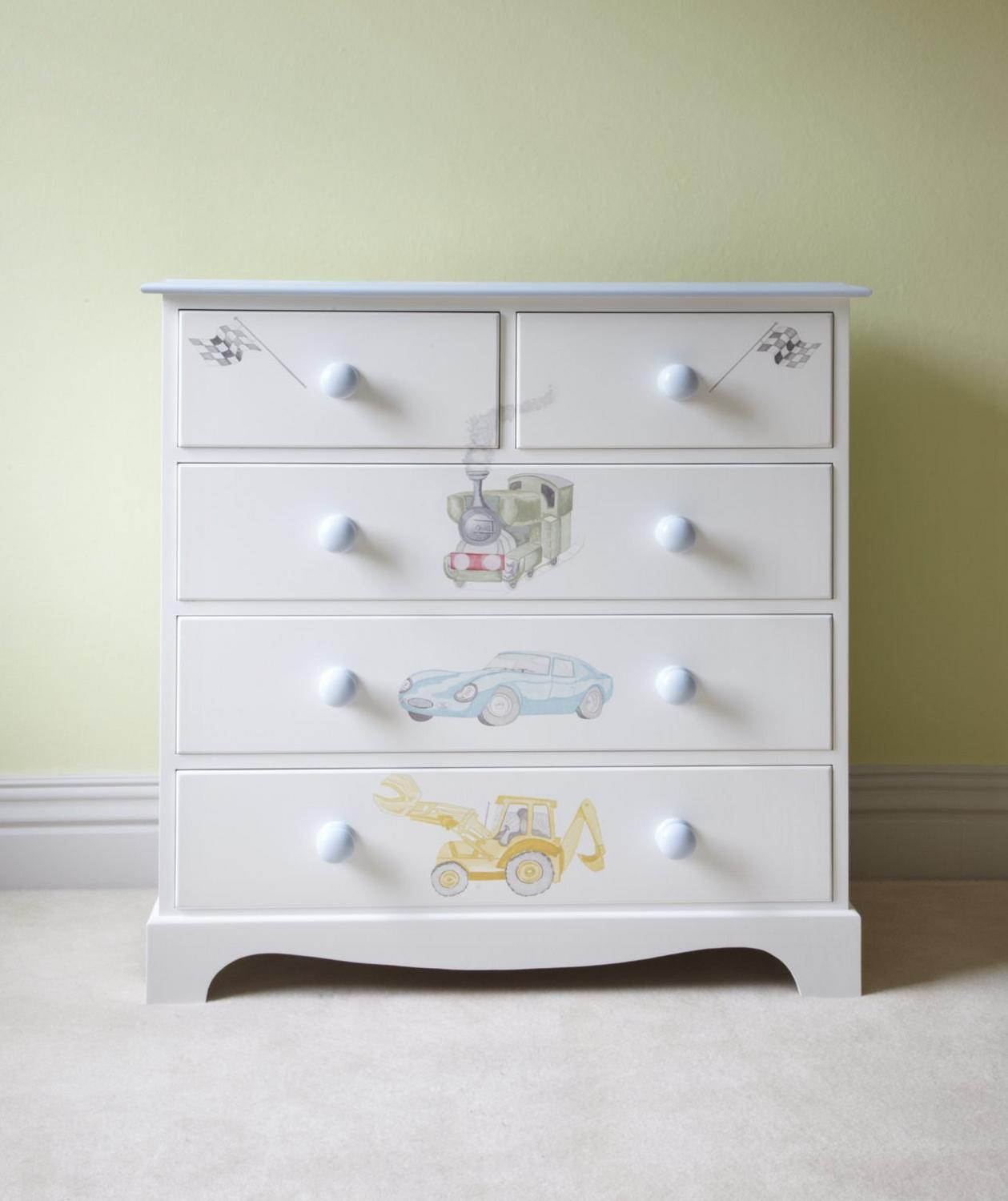 Children's chest of drawers with Vintage Transport themed hand paintings | Dragons of Walton Street