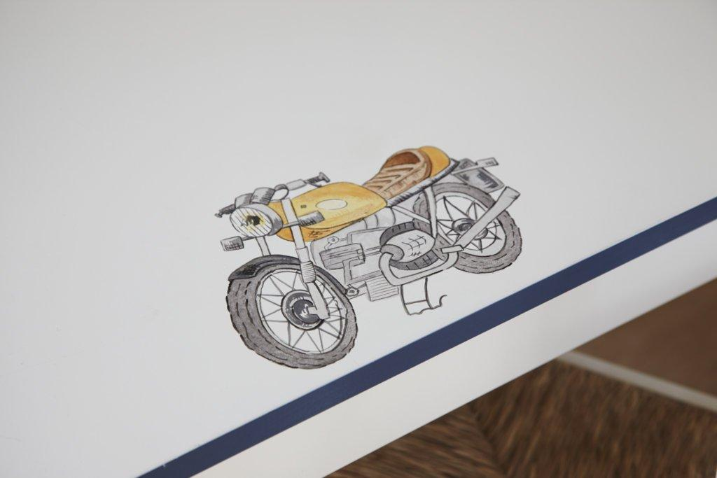 Vintage motorcycle painting for Vintage Transport themed kids room | Dragons of Walton Street
