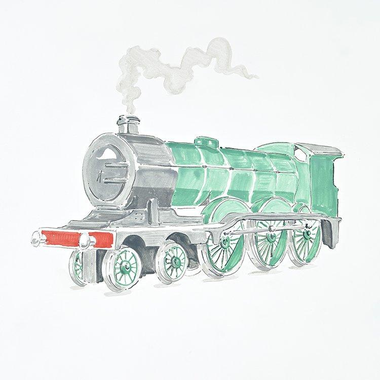 Steam locomotive painting for Vintage Transport themed kids room | Dragons of Walton Street