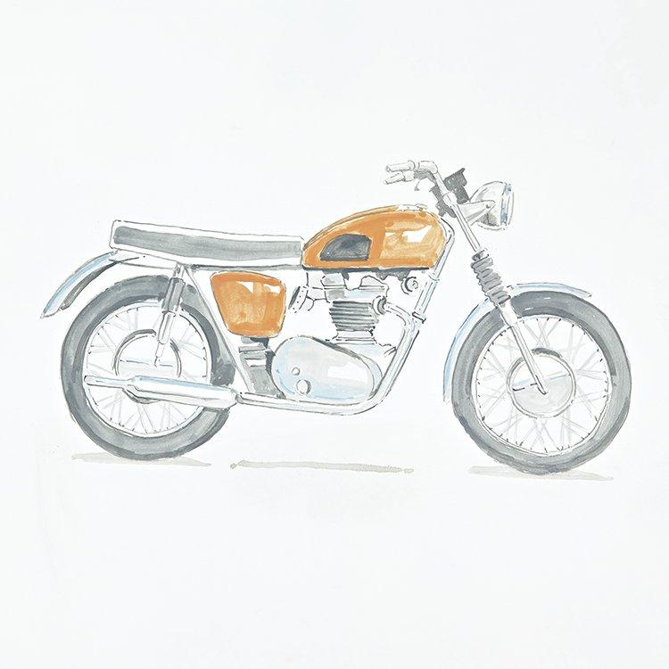 Vintage styled motorcycle painting for Vintage Transport themed kids room | Dragons of Walton Street