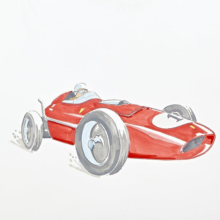 Vintage red racing car painting for Vintage Transport themed kids room | Dragons of Walton Street