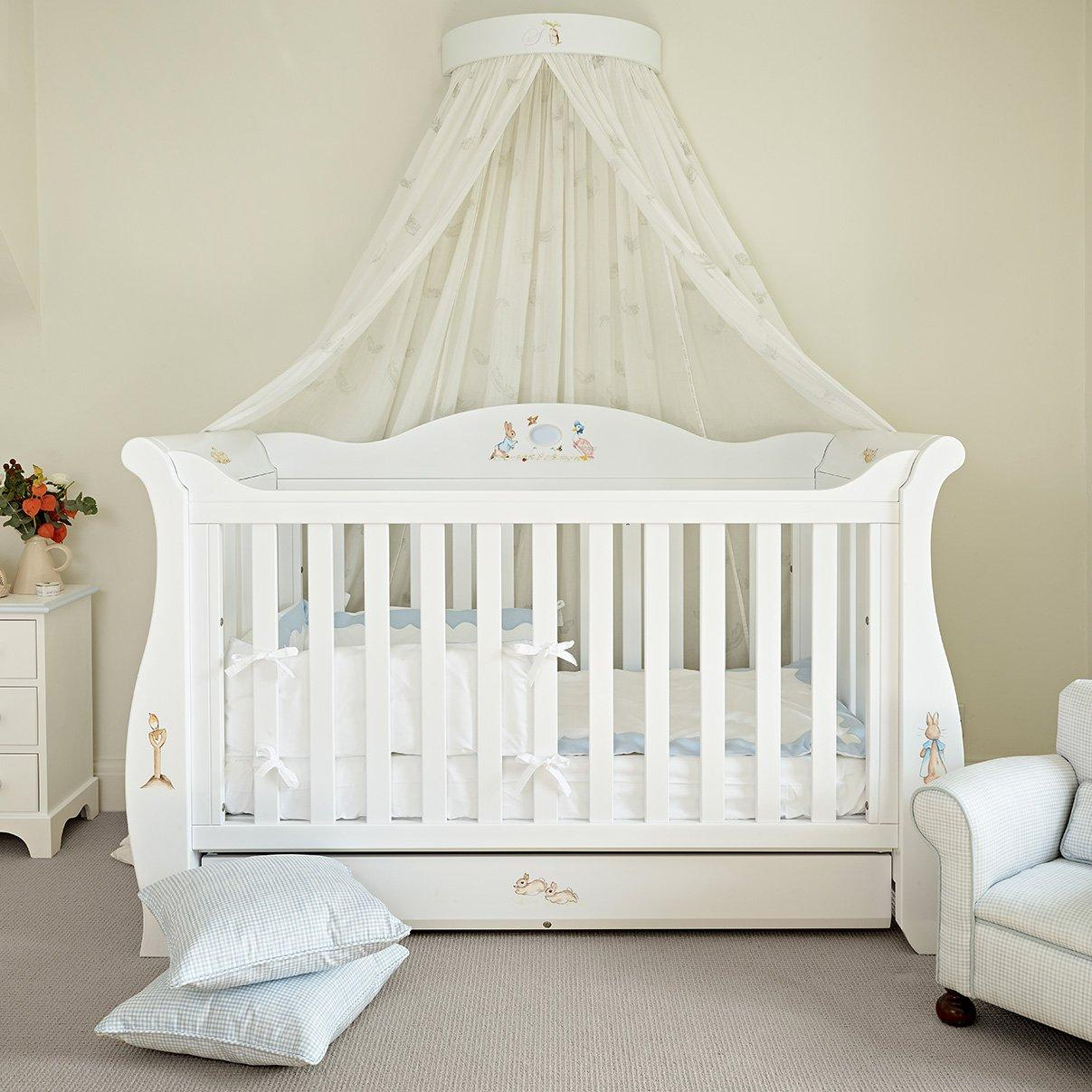 Kids white wooden sleigh cot bed with Peter Rabbit hand paintings