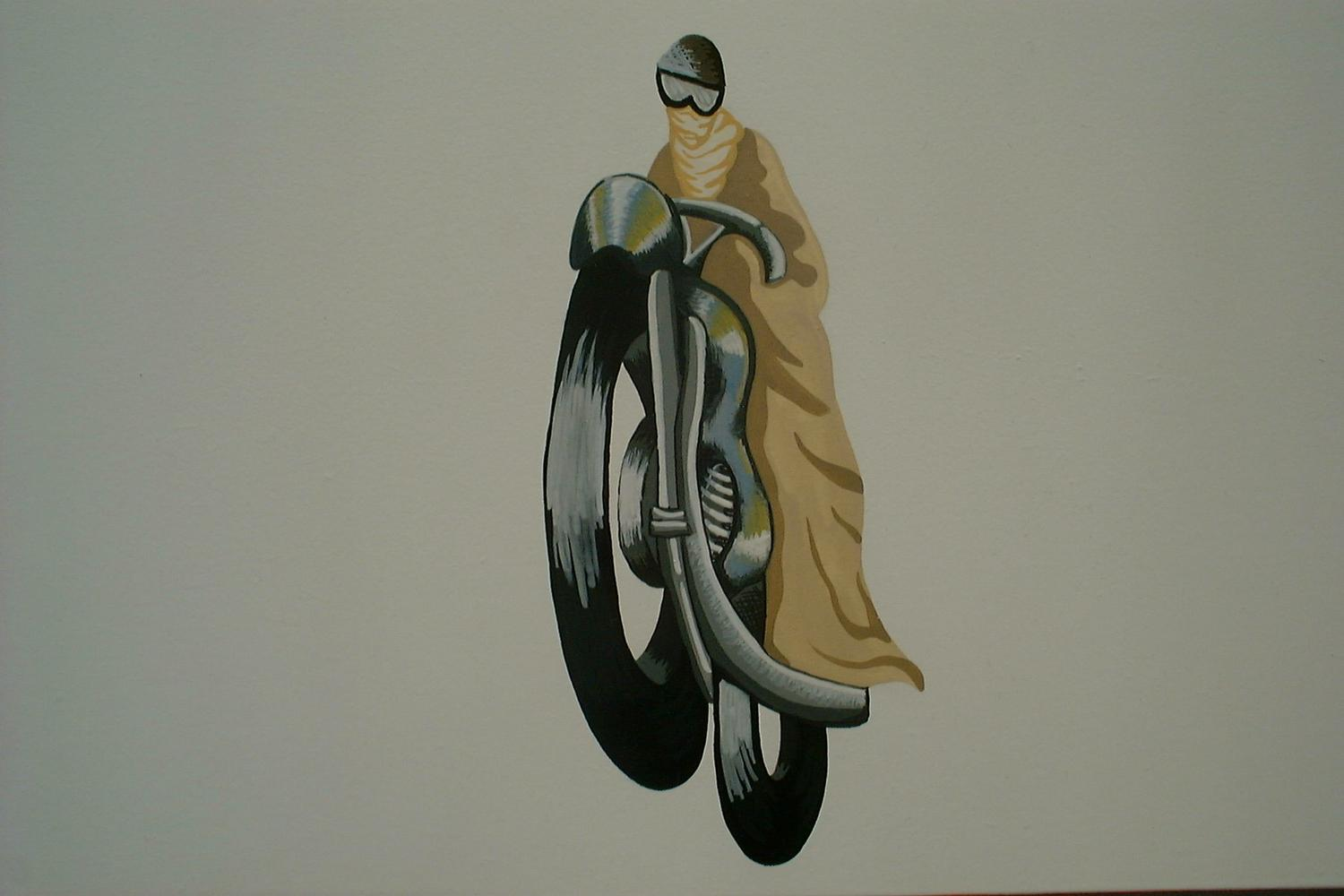 Motorcycle painting for Vintage Transport themed kids room | Dragons of Walton Street