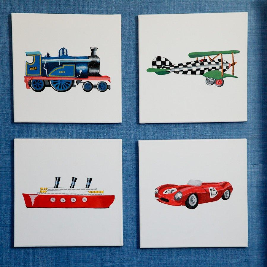 Framed picture with Vintage Transport themed hand paintings | Dragons of Walton Street