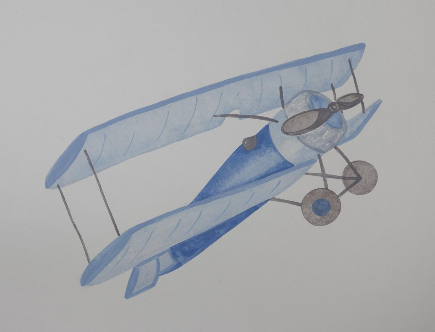 Blue airplane painting for Vintage Transport themed kids room | Dragons of Walton Street