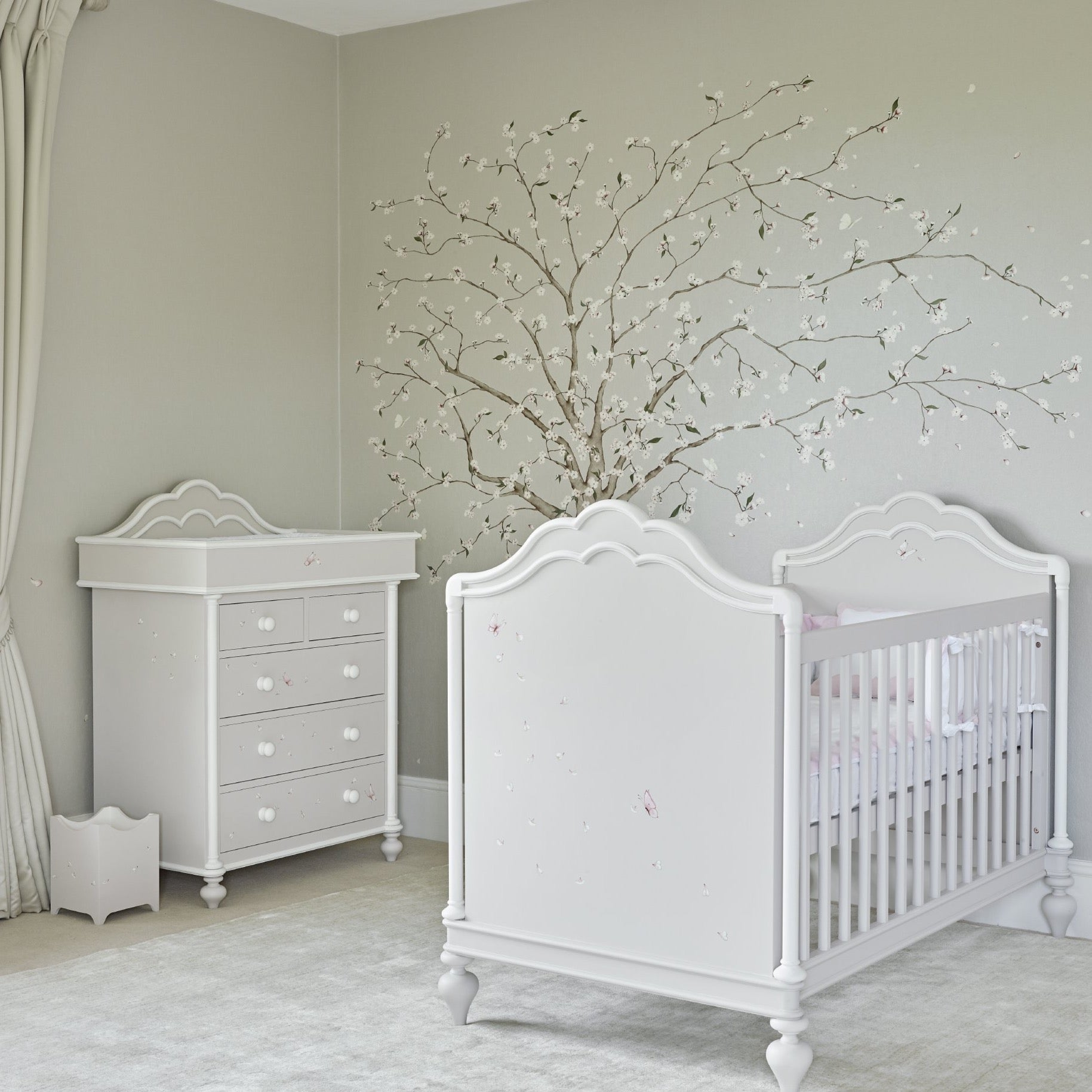 Baby cot with changng table for girl's nursery room   Dragons of Walton Street