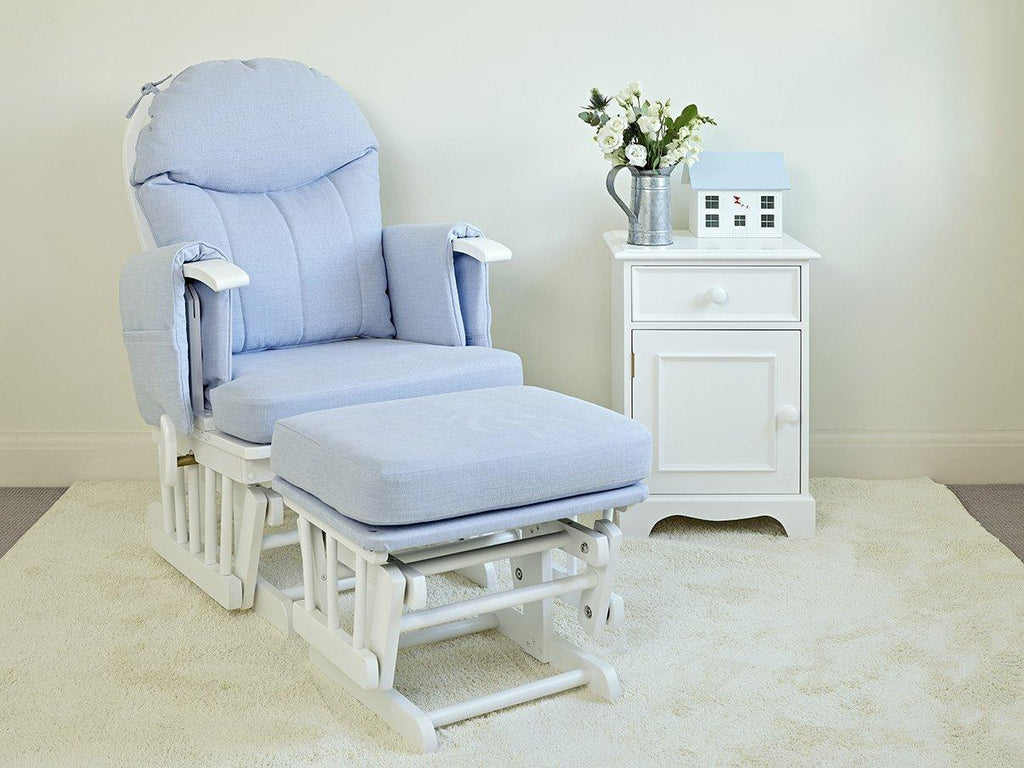 Blue Henley nursing chair and stool | Dragons of Walton Street