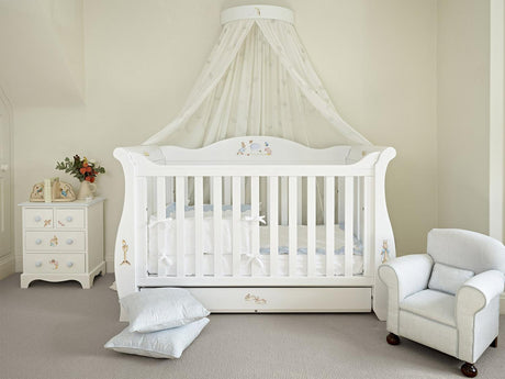 Kids Sleigh Cot Bed with a storage drawer