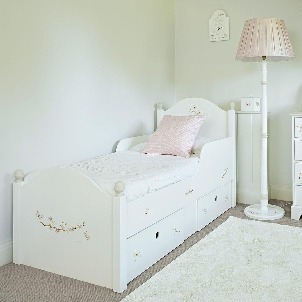 Small Oliver kids single bed with storage - Linen Blossom paintings | Dragons of Walton Street