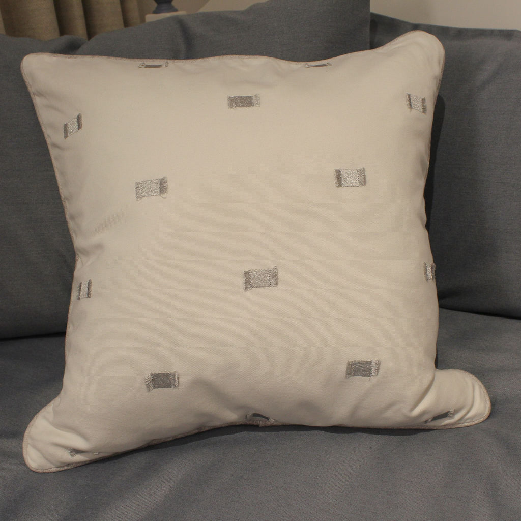 Medium White and Silver Cushion