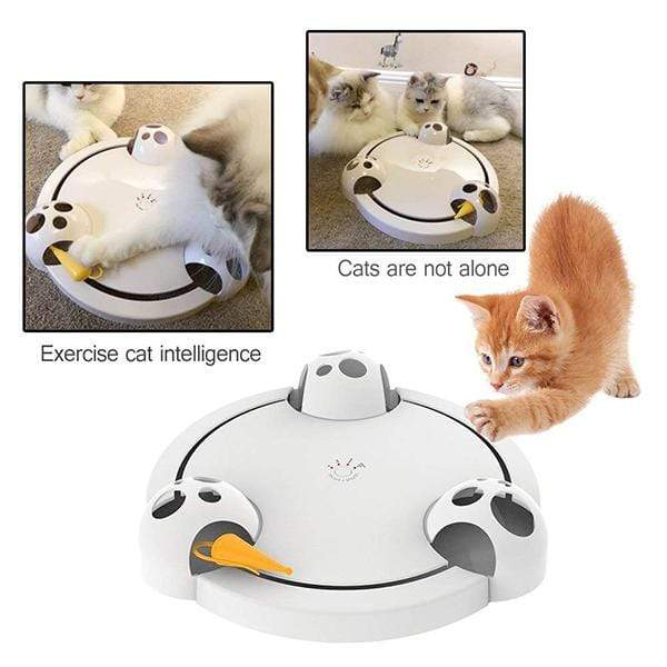 Cat Toys Interactive Roating Pounce Hide Seek Mouse Hunting Scratch Board Electric Amusement Plate - GoinsShop
