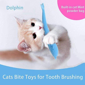 Pet Cat Fish Shape Catnip Toothbrush Toy Doll - GoinsShop