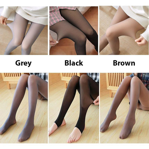 Flawless Legs Fake Translucent Warm Fleece Pantyhose - GoinsShop