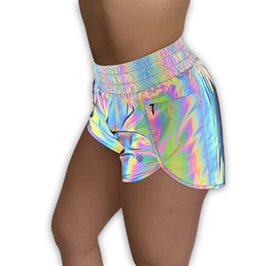 Women's Rainbow REFLECTIVE Track Shorts (Compression Lined) - GoinsShop