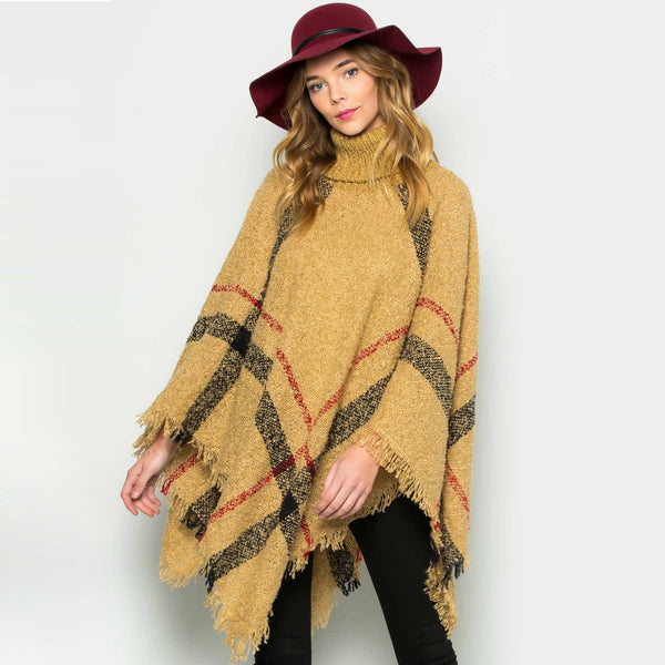 Ins Cozy Kitted Poncho Cap Sweater Turtleneck Oversized - GoinsShop