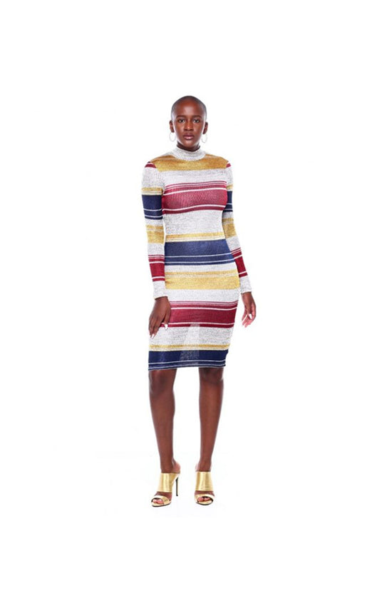 L/S Stripe Turtle Nk Midi Dress