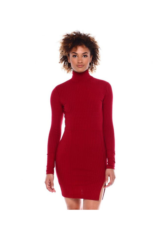 L/S Rib Mock NK Bodycon Dress W/Side Frt Slit