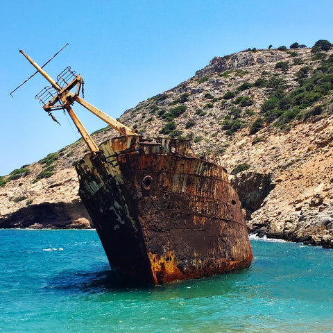 The famous rusty shipwreck on the island of Amorgos in Greece