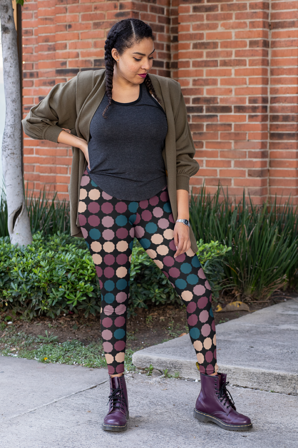 Flowy cardigan and tee paired with patterned leggings