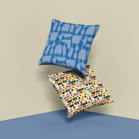 Retro style patterned cushions and couch pillows by BillingtonPix