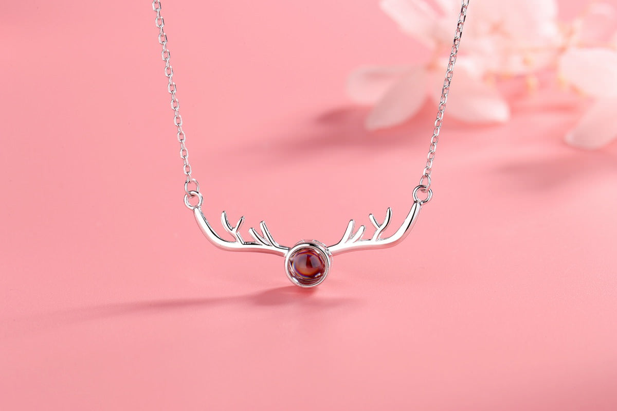 Antlers 4 silver Projection Necklace Pendant