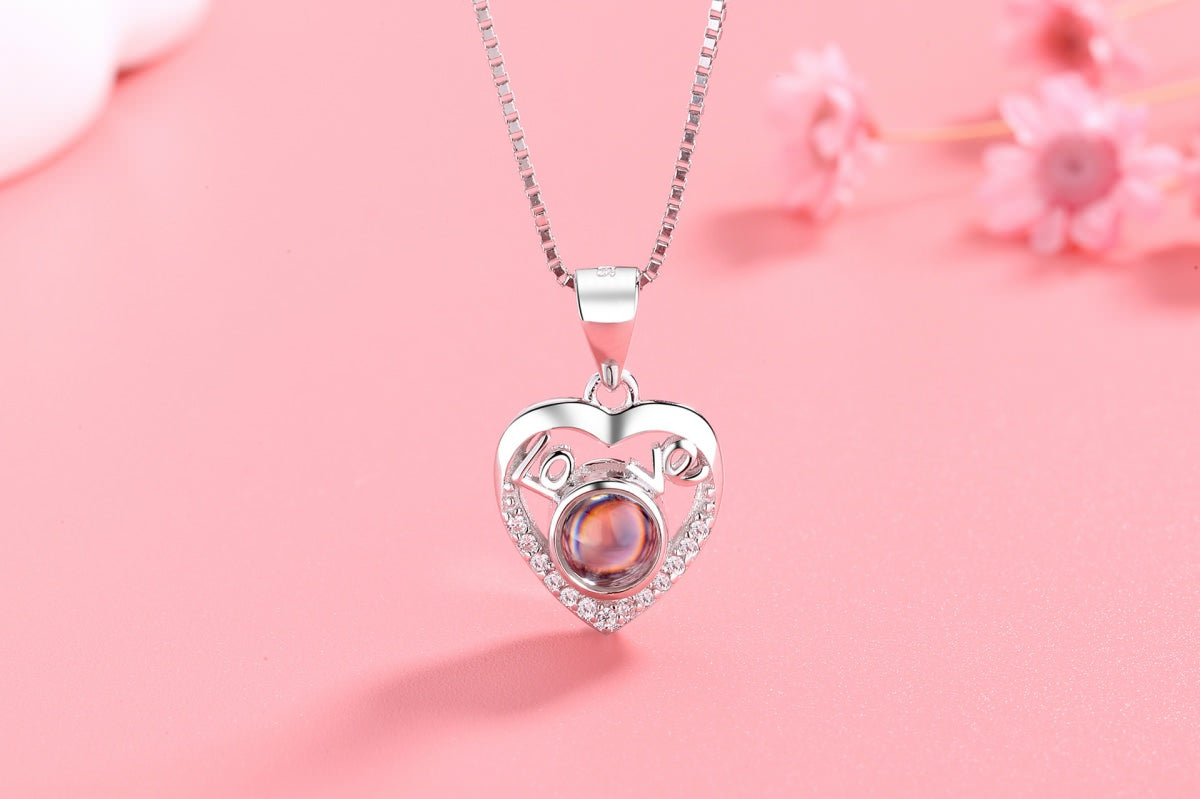 Love Heart 1 silver Projection Necklace Pendant