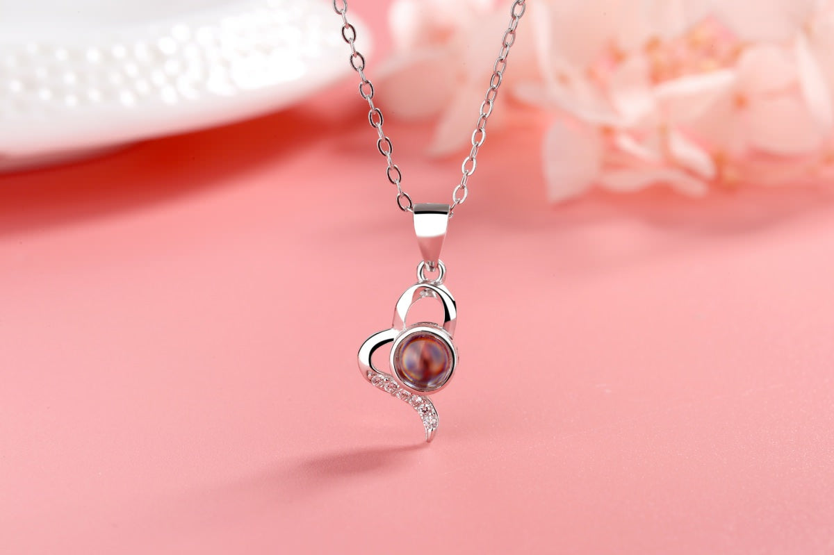 Love Heart 2 silver Projection Necklace Pendant