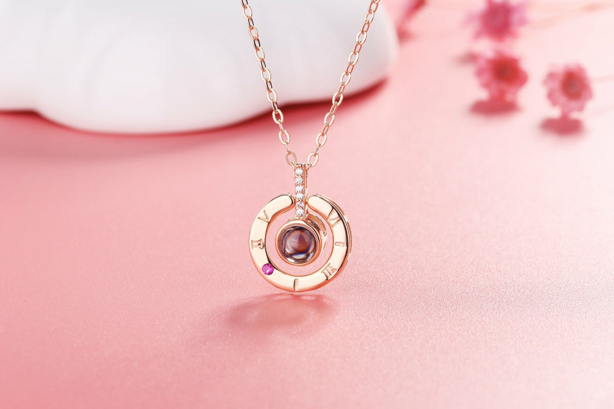 Ring Rose Projection Necklace Pendant