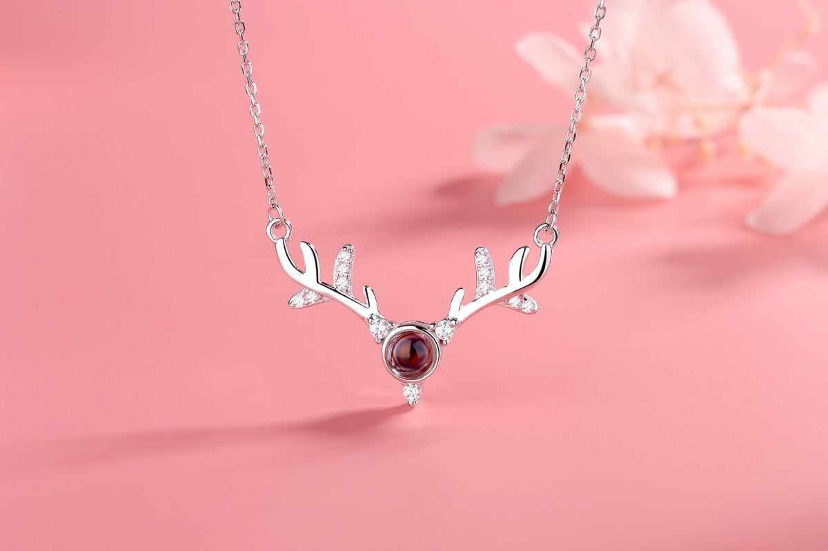 Antlers 1 silver Projection Necklace Pendant