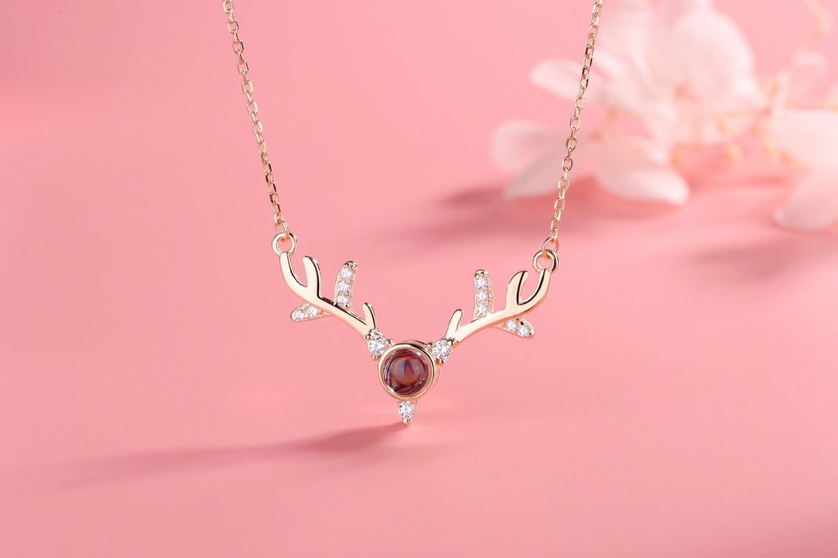 Antlers 1 rose Projection Necklace Pendant