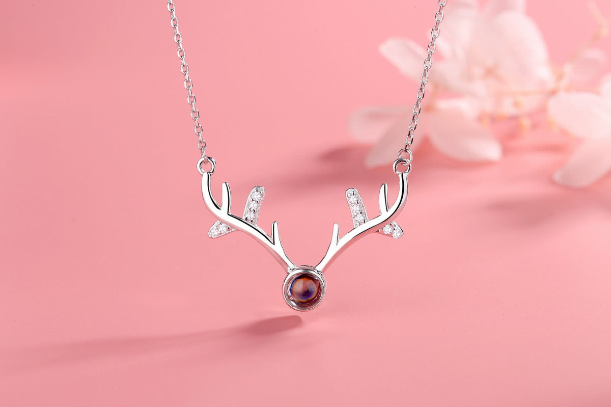 Antlers 2 silver Projection Necklace Pendant