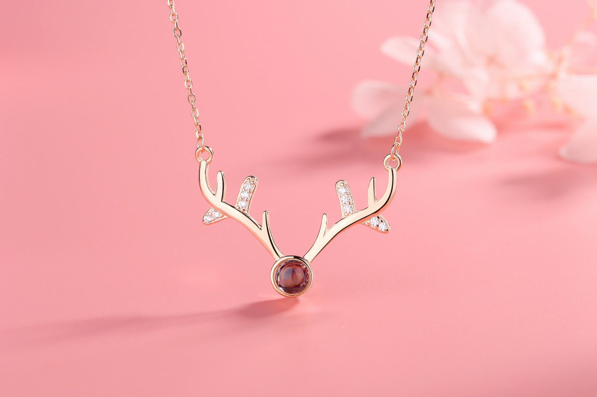 Antlers 2 rose Projection Necklace Pendant