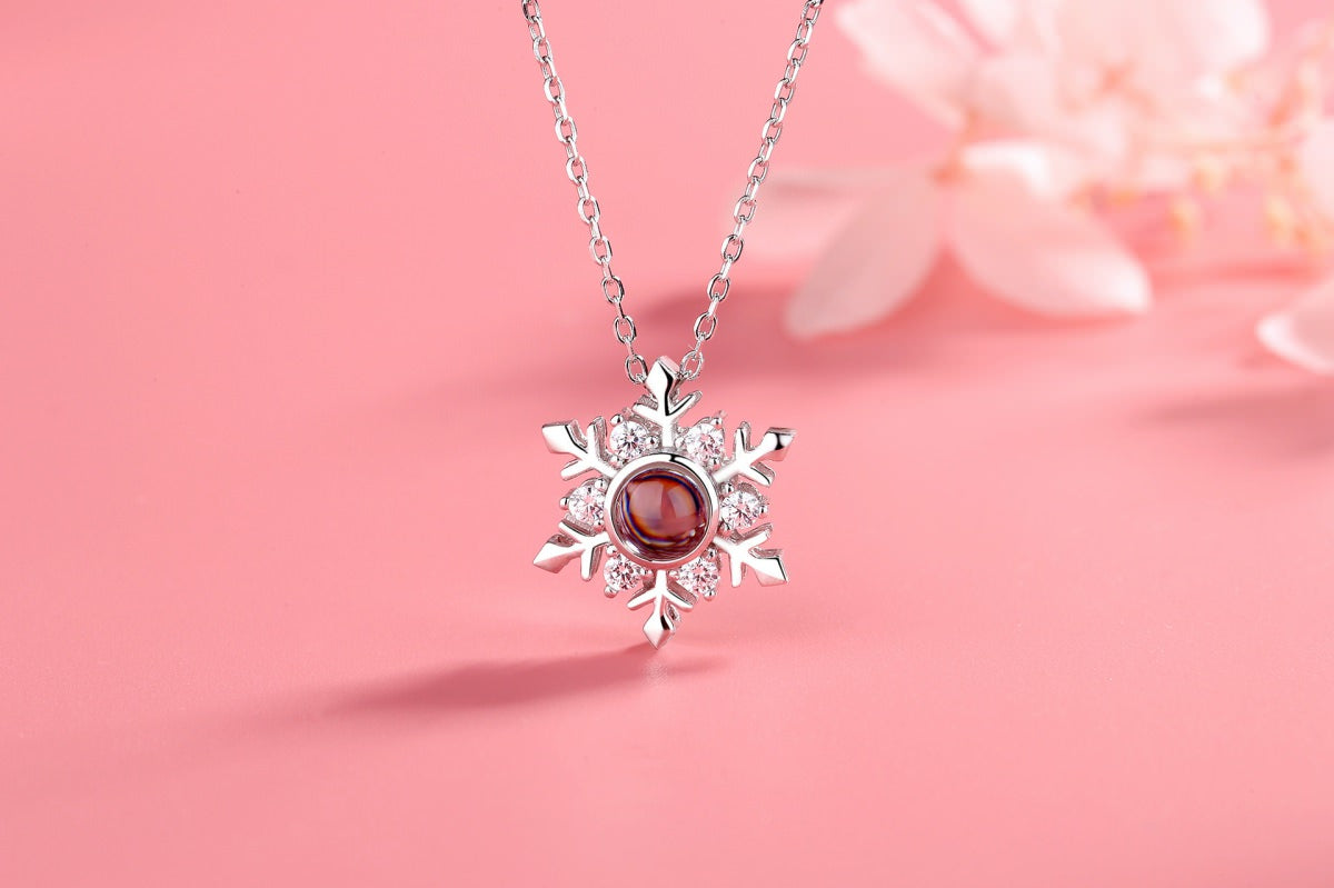 Snowflake silver Projection Necklace Pendant