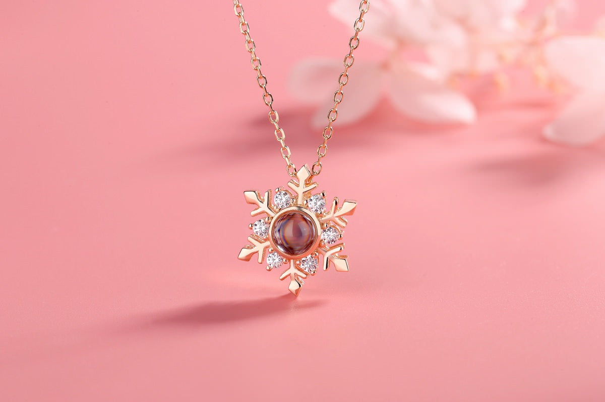 Snowflake 1 rose Projection Necklace Pendant