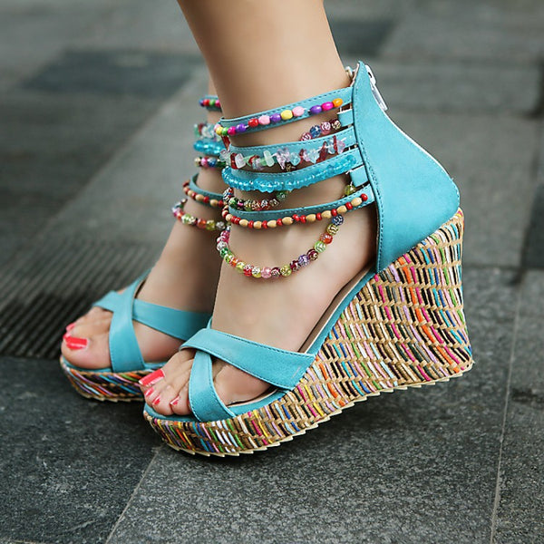 wedge sandals sky blue