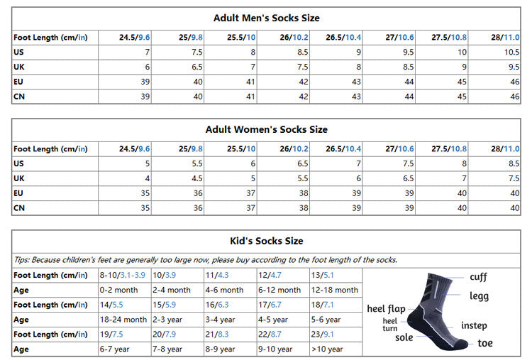 Socks size chart for different countries