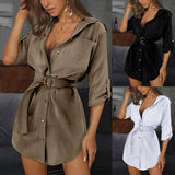 Lace-up Solid Cardigan Shirt Dress - Asia-Peak