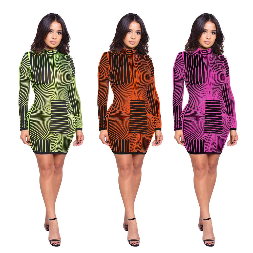 Neon Striped Print Bodycon Dress - Asia-Peak