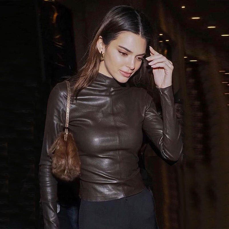 Sexy Slim Black PU Leather Thin Jacket