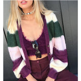 2020 Autumn New Collage V-neck Sweet Cardigan Sweater
