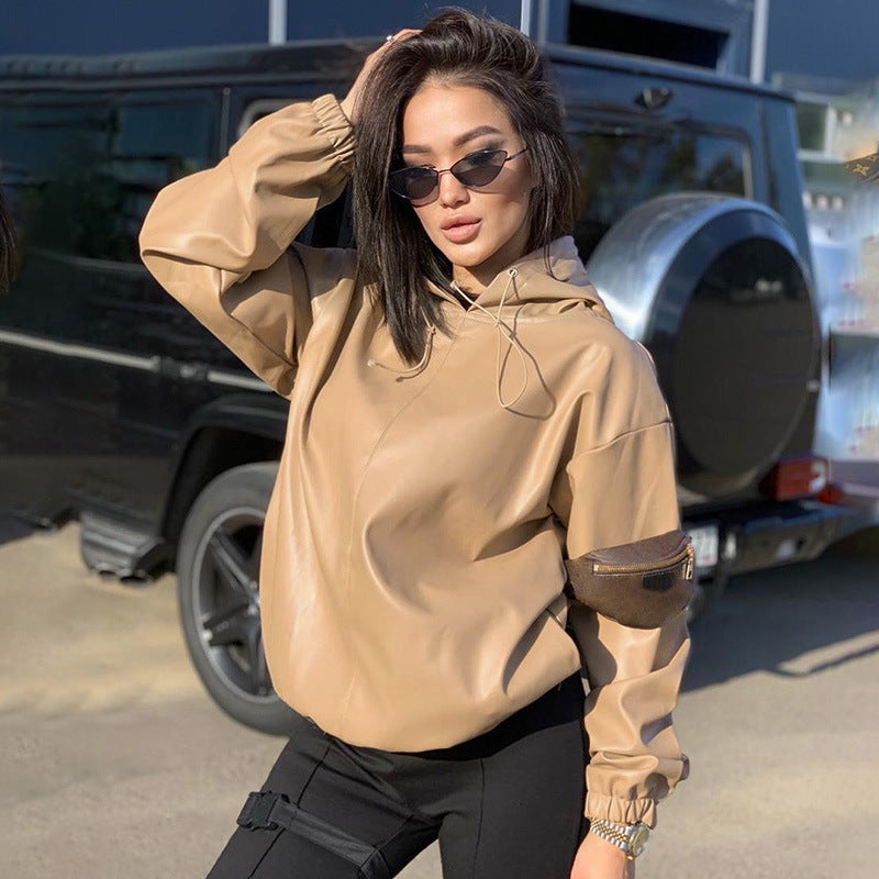 Casual Autumn Pullover PU Leather Oversized Hoodies