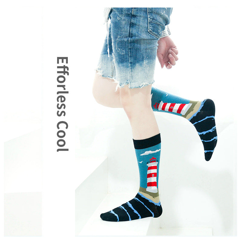 Tube Socks Funny Socks for Autumn and Winter - 5 Pairs / Set