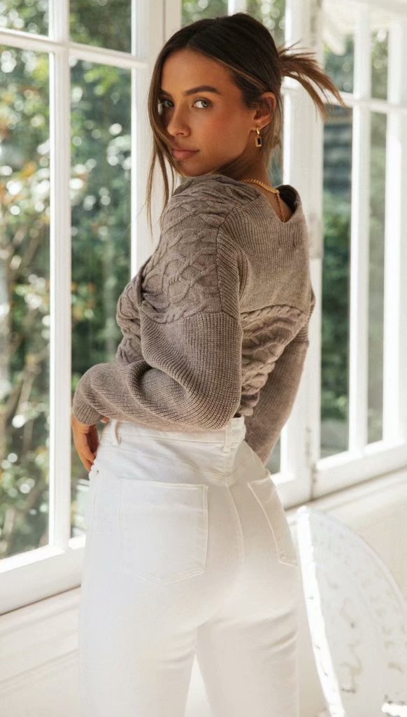Office Sexy Pullover Knitted Twist Sweater