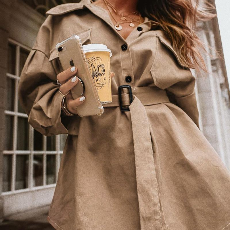 Commute Irregular Slim Short Trench Coat